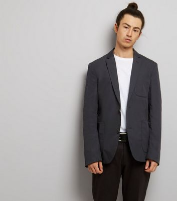 Navy Cotton Mix Blazer