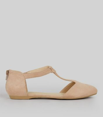 Teens Pink Suedette Knot Front Pumps
