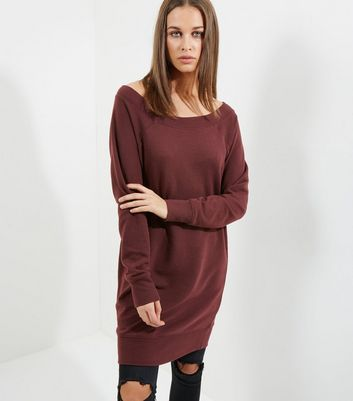 Burgundy Bardot Neck Longline Sweater