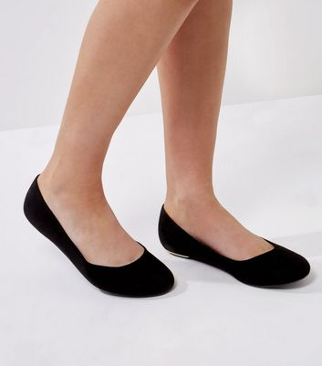 Extra Wide Fit Black Suedette Metal Trim Pumps