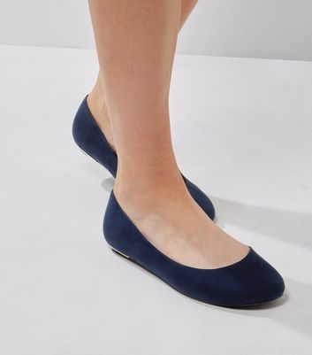 Extra Wide Fit Navy Suedette Metal Trim Pumps