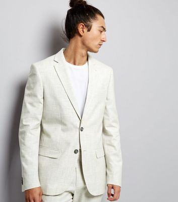 Off White Cross Hatch Slim Fit Blazer