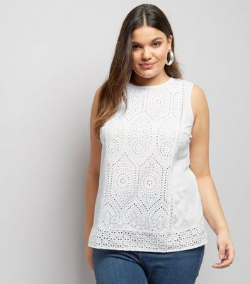Curves White Broderie Lace Sleeveless Top
