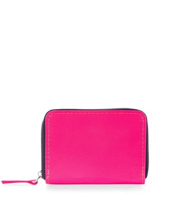 Bright Pink Mini Zip Around Cardholder