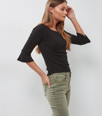 Black Bell Sleeve Slim Fit Top