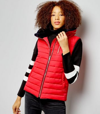 Red Fitted Padded Gilet