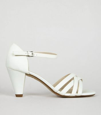 Teens Cream Sateen Strappy Cone Heeled Sandals