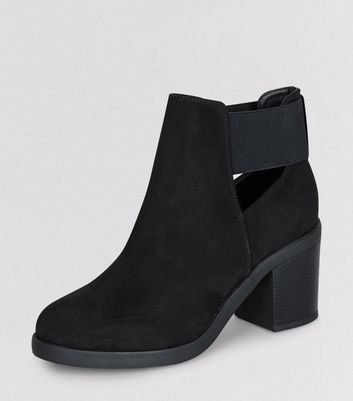 Teens Black Suedette Elasticated Side Boots