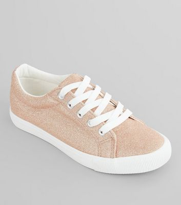 Teens Rose Gold Glitter Lace Up Trainers