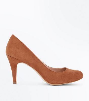 Wide Fit Tan Suedette Court Shoes