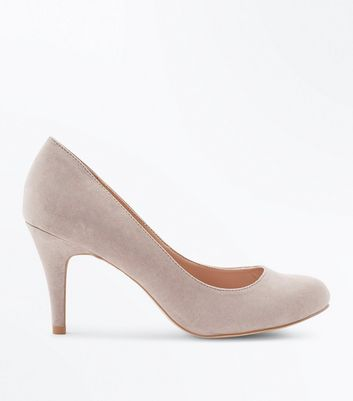 Wide Fit Mink Suedette Court Shoes