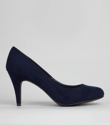 Wide Fit Navy Suedette Court Shoes