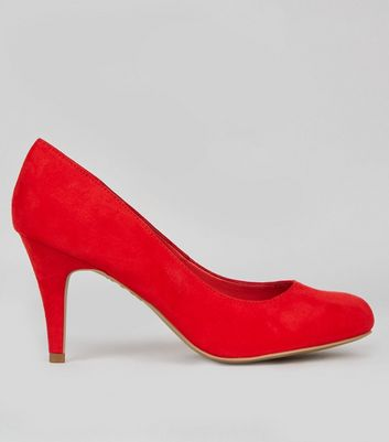 Wide Fit Red Suedette Court Shoes
