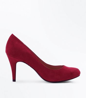 Wide Fit Deep Pink Suedette Court Shoes