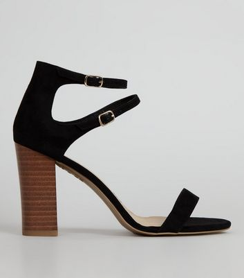Black Double Ankle Strap Heeled Sandals