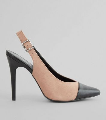 Pink Contrast Toe Cap Sling Back Pointed Heels