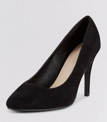 Wide Fit Black Comfort Suedette Court Shoes