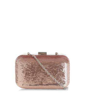 Pink Sequin Box Clutch