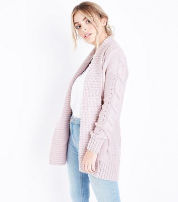 Petite Shell Pink Cable Knit Cardigan
