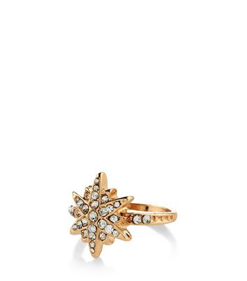 Gold Diamante Star Ring