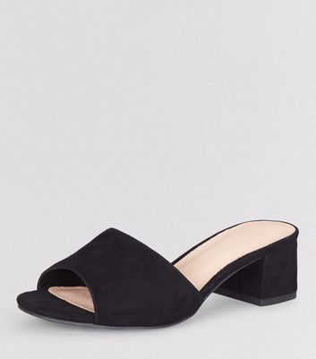 Wide Fit Black Comfort Suedette Block Heel Mules
