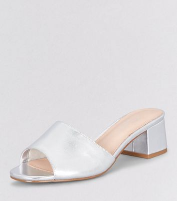 Wide Fit Silver Comfort Block Heel Mules