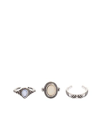 3 Pack Silver Stone Toe Rings