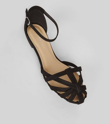 Wide Fit Black Suedette Caged Front Sandals