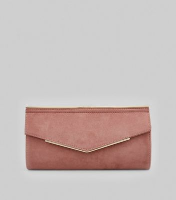 Pink Suedette Metal Trim Clutch