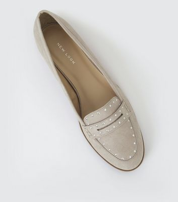 Grey Suedette Studded Loafers
