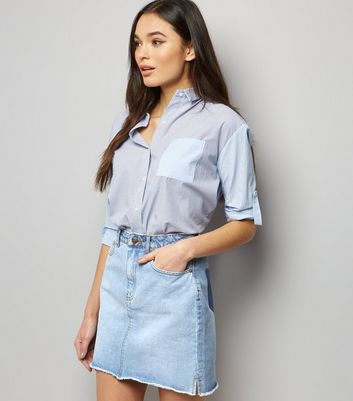 Pale Blue Patchwork Denim Mom Skirt