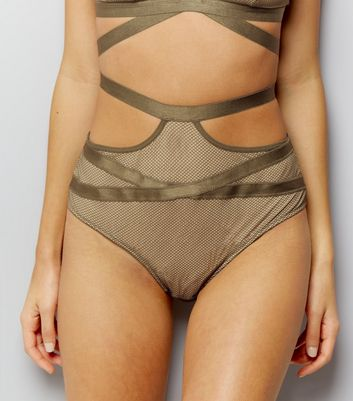 Olive Green Strappy Fishnet High Waist Briefs