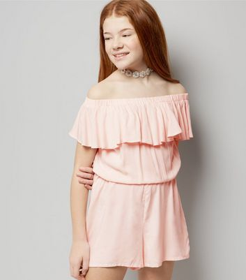 Teens Pink Frill Trim Bardot Playsuit