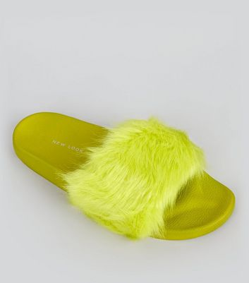 Lime Green Faux Fur Mules