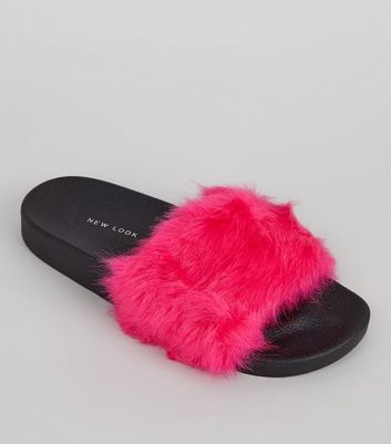 Bright Pink Faux Fur Mules
