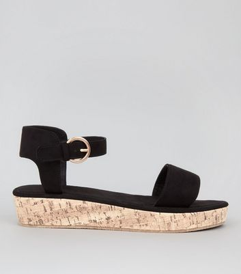 Black Suedette Cork Sole Sandals