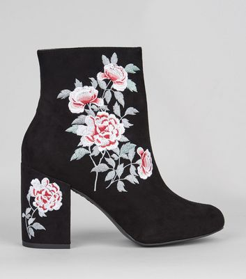 Black Suedette Floral Embroidered Boots