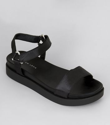 Black Sateen Velcro Strap Sandals