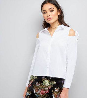 White Tie Cold Shoulder Long Sleeve Shirt