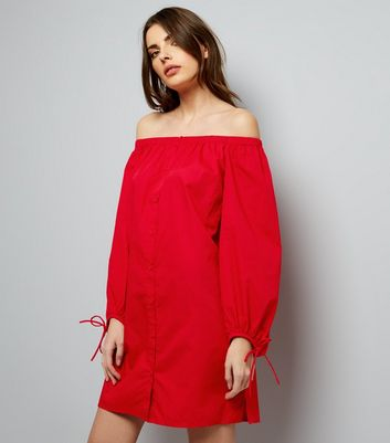 Red Button Front Bardot Neck Dress
