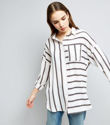 White Contrast Stripe Pocket Front Shirt