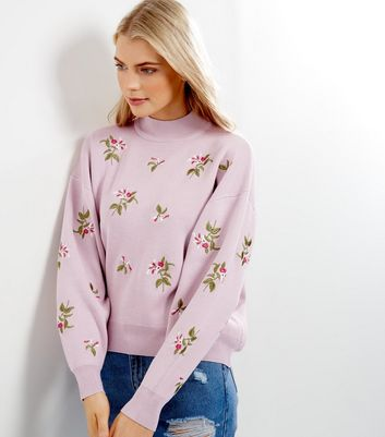Shell Pink Floral Embroidered Sweater
