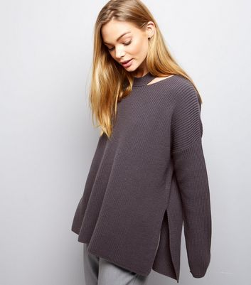 Dark Grey Cut Out Long Sleeve Jumper