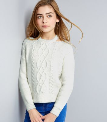 Teens Cream Cable Knit Cut Out Neck Jumper