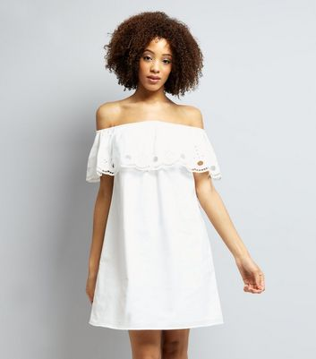 White Cut Out Trim Bardot Neck Dress