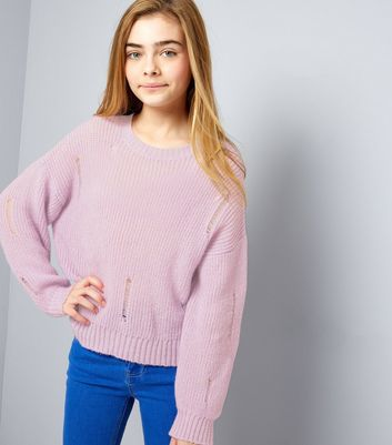 Teens Purple Ladder Knit Jumper