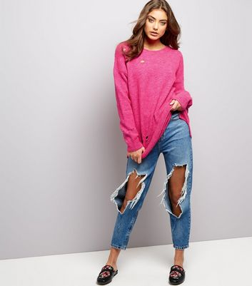 Bright Pink Ripped Jumper