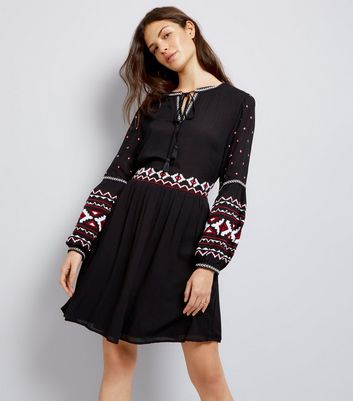 Black Embroidered Trim Smock Dress