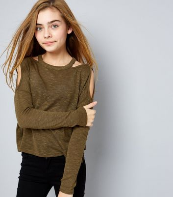 Teens Khaki Fine Knit Cut Out Cold Shoulder Top