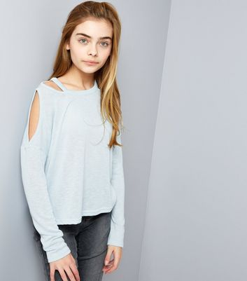 Teens Pale Blue Fine Knit Cut Out Cold Shoulder Top